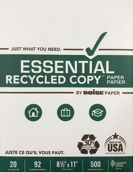 8.5 X 11 RECYCLED WHITE 20 LB. COPY PAPER