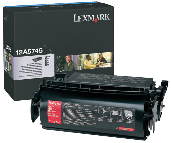 Genuine OEM Lexmark 12A5745 High Yield Black Laser/Fax Toner (25000 page yield)