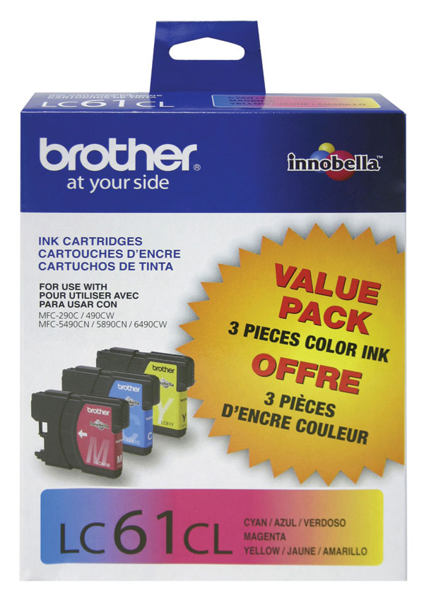Genuine OEM Brother LC-613PKS Cyan, Yellow, Magenta Ink Cartridge (value bundle, 3pk) (Includes One Each LC61 Cyan Magenta Yellow) (3 x 325 page yield)