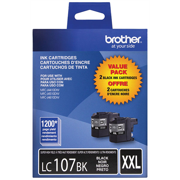 Genuine OEM Brother LC1072PKS Super High Yield Black Ink Cartridges (Dual Pack) (2 x 1,200 page yield)
