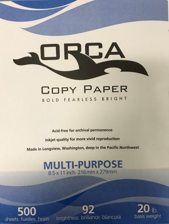 8.5 X 11 ORCA 92 BRIGHT WHT COPY PAPER 20 LB.