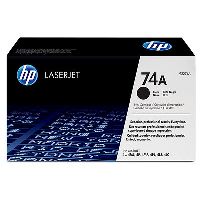Genuine OEM HP 92274A (HP 74A) Black Toner Cartridge (3350 page yield)