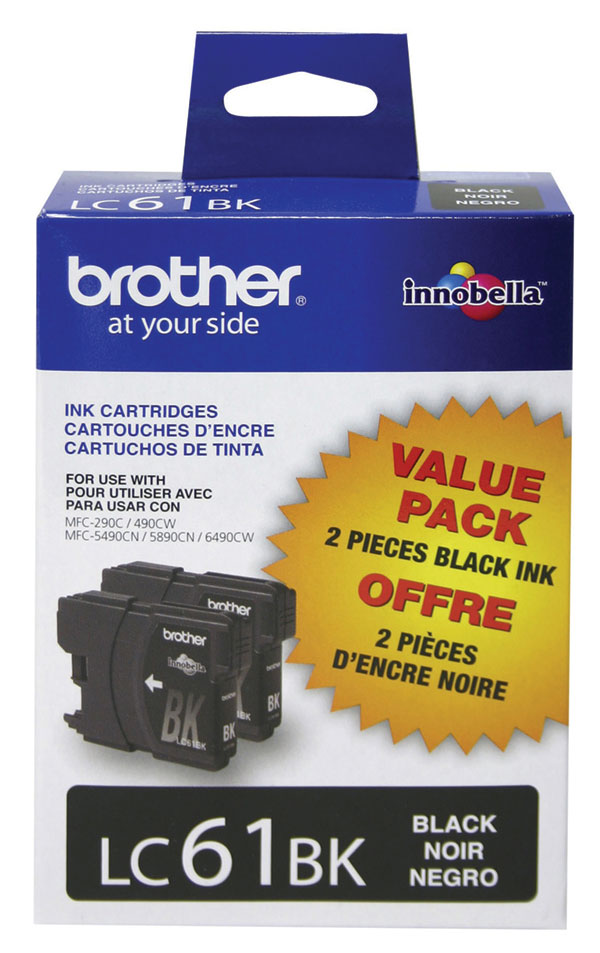 Genuine OEM Brother LC-612PKS Black Ink Cartridge (2 Pack of LC61BK) (2 x 450 page yield)