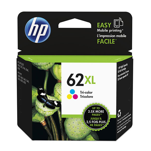 Genuine OEM HP C2P07AN (HP 62XL) High Yield Tri-Color Ink Cartridge (415 page yield)