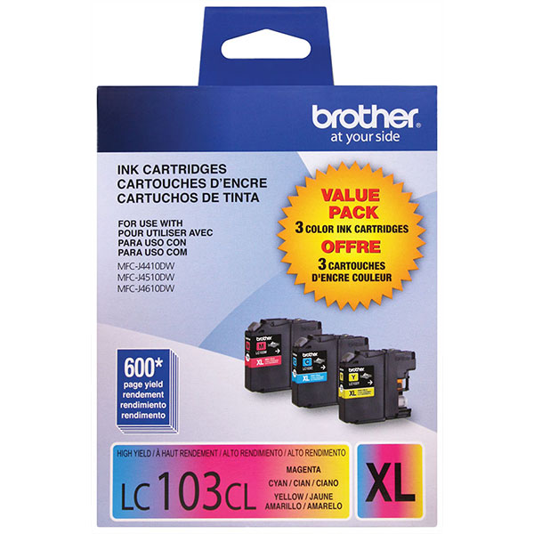 Genuine OEM Brother LC1033PKS High Yield Ink Cartridges (Combo Pack) (Includes 1 Each of OEM# LC103C, LC103M, LC103Y ) (3 x 600 page yield)